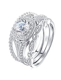 Newshe 3 Piece Round Cut White Cz Genuine 925 Sterling Silver Wedding Engagement Ring Set Size 5-12