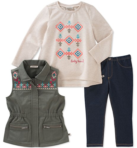 Lucky Brand Girls' Toddler 3 Piece Vest Sets, Green/Oatmeal, 4T by Lucky Brand
