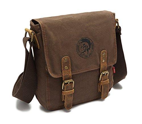Satchel Escuela Mochila Hombres Mujeres Vintage Canvas Backpack Senderismo Bolsa Casual Bolsa de viaje Bookbag Ipad Bolsa (khaki, 23*6*26) coffee
