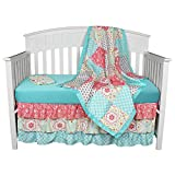 Gia Floral Aqua 4-In-1 Baby Girl Crib Bedding Set by The Peanut Shell