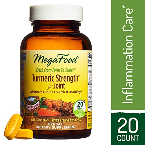 MegaFood – Turmeric Strength for Joint, Curcumin Support for a Healthy Inflammation Response and Comfortable Joints with Devil's Claw and Ginger Root, Vegan, Gluten-Free, Non-GMO, 20 Tablets (FFP) For Sale