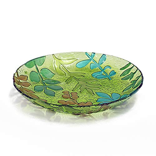 WELLAND Hand Painted Decorative Glass Dish, Leaves Pattern, Round - Leaf Round Platter