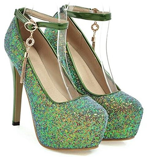 Idifu Womens Glitter Paillettes Platform Spikes Tacchi A Spillo Scarpe Con Fibbia Scarpe Con Cinturino Alla Caviglia Verde