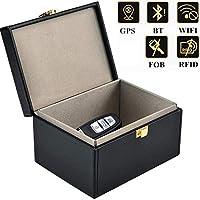 Getfitsoo Signal Blocker Box, Signal Blocking Key Fob for Blocking Faraday Car Key Signal,Large PU Leather Faraday Car Key Fob Protector Box (Black, 6″X4″X3″)