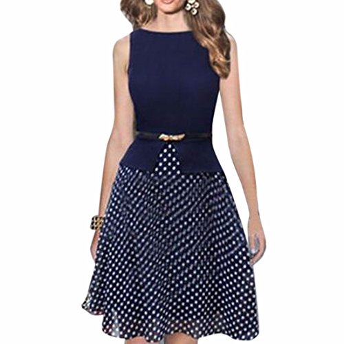 Femmes Sexy Jupe longue col rond Big Swing Polka Dot Jupe Bodycone Robes