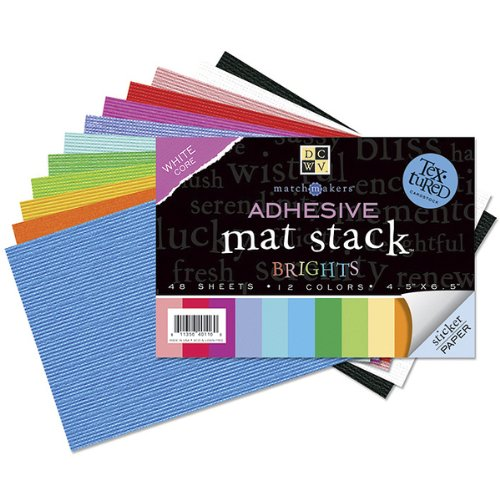 Textured Brights Cardstock Stack - Diecuts with A View Match Makers Adhesive Texture Brights Mat Stack, 4-1/2-Inch by 6-1/2-Inch, 48 Sheets/Pad