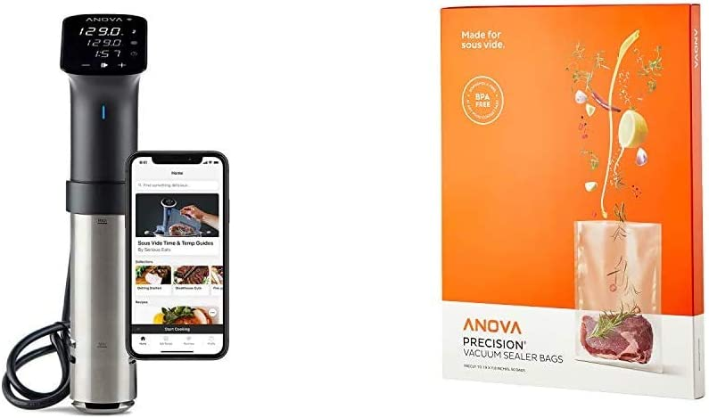 Anova Culinary | Sous Vide Precision Cooker Pro (WiFi) | 1200 Watts | All Metal | Anova App Included & Anova Pre-Cut Sous Vide Vacuum Sealer bags, One size, Clear