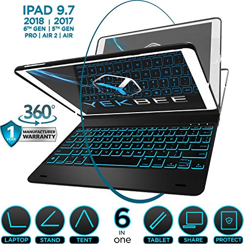 iPad Keyboard Case for iPad 2018 (6th Gen) - iPad 2017 (5th Gen) - iPad Pro 9.7 - iPad Air 2 & 1 - Thin & Light - 360 Rotatable - Wireless/BT - Backlit 10 Color - iPad Case with Keyboard (Black)
