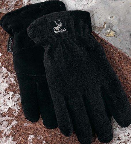 Heatlok Thermal Gloves Split Deerskin Palm (Black, Small) ()