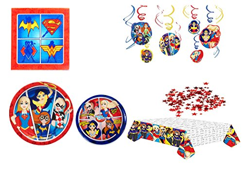 Super Girls Party Pack 16 Lunch Plates ,16 Desert Plates ,16Lunch Napkins ,Swirl Decorations & 1OZ Red -