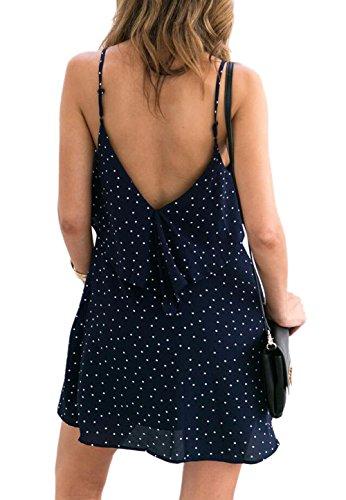 VLUNT Las mujeres del verano del V-cuello sin gasa vestido de lunares Imprimir Azul