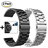 {Christmas Gift} Gear S3 Frontier / Classic Watch Band - 22mm Metal Stainless Steel Bracelet Strap for Gear S3 Frontier SM-R770 / Classic SM-R760+Tempered Glass (Black Metal Band + Silver Metal Band)