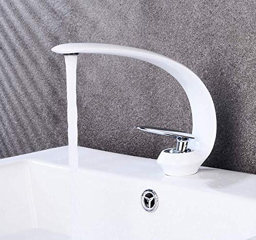 (Cxmm Basin Faucet for Bathroom Sink Faucet White Basin Mixer Water Tap Deck Mount Waterfall Sink Faucet Water Mixer Water)