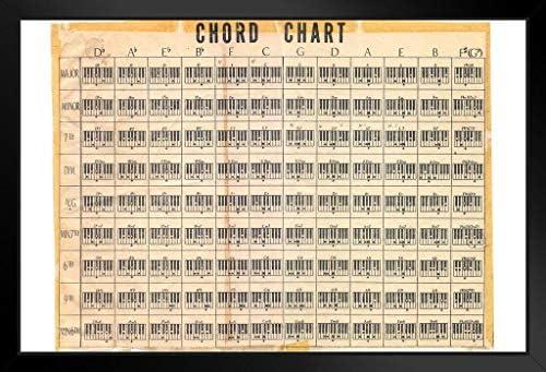 Chord-Chart-Poster, Vintage-Stil, 45,7 x 30,5 cm Antik Framed in Black Wood 20x14 inch Multi-Color / 12802