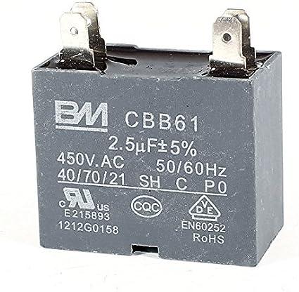 cbb61 ac450 V 2.5uf Ceiling Fan 4 pins Motor Run Capacitor de Grey ...