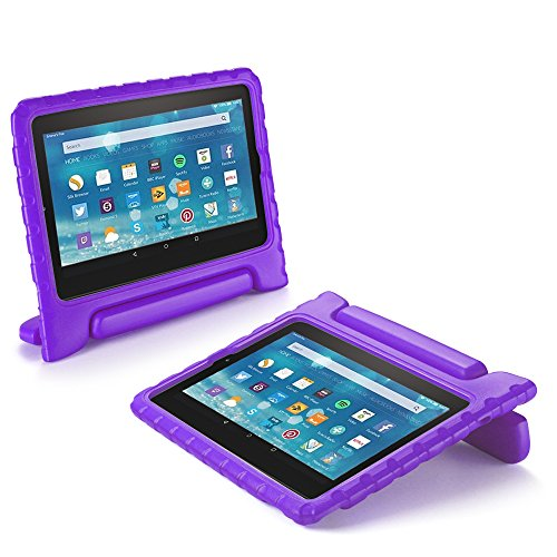 TNP Shock Proof Case for All New Fire 7 Tablet (7th Gen, 2017 Release) - For Kid Friendly Child Proof Anti Slip Impact Drop Light Weight Convertible Handle Stand Cover Protective Case (Purple)
