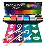 Face & Body Paint Kit, 12 Colors + 24 Bonus Stencils + 3 Brushes + Travel Case, Non-Toxic, Washable, Professional Beginner Starter Set for Kids & Adults, Halloween Costume Makeup Supplies