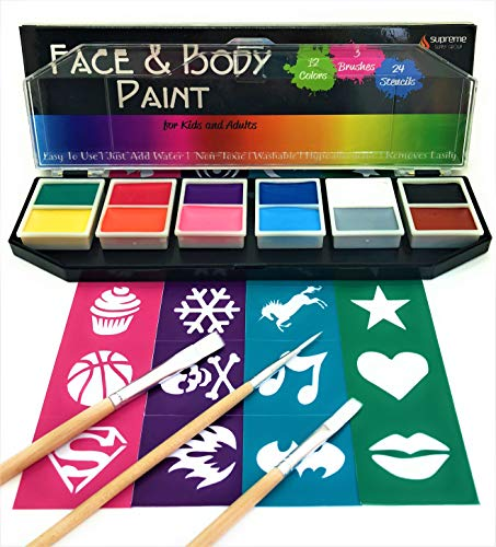Face & Body Paint Kit, 12 Colors + 24 Bonus Stencils + 3 Brushes + Travel Case, Non-Toxic, Washable, Hypoallergenic, Professional Starter Set for Kids & Adults, Halloween Costume Makeup Supplies