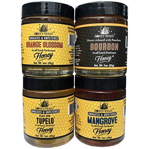 Honey Feast Gift Set - 4 Popular 3oz Honey Feast jars of Raw Unfiltered Honey