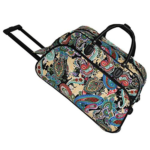 OS Single Piece Blue Small Wheeled Duffle Bag, 22-inch Carry-on Rolling Upright Duffel Bag, Paisley Pattern, Lightweight, Softside Type, Multi-Compartment, Telescoping Handle, Light Black, Green