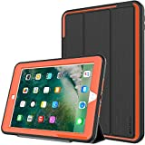 TECHGEAR D-FENCE Case for New Apple iPad 9.7' ( 2018 / 2017 ) - Slimline Shock Proof Tough Rugged Protective Armour Defence Smart Case with Detachable Screen Cover / Stand - Kids Schools Builders Workman Case [BLACK / ORANGE] - for 5th & 6th Generation iPad 9.7'