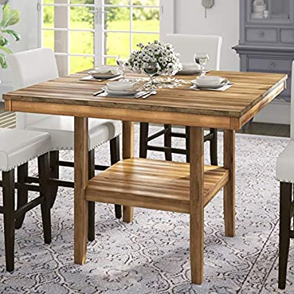 Pleasing Amazon Com Wood Dining Table With Shelf Square Base Home Interior And Landscaping Eliaenasavecom