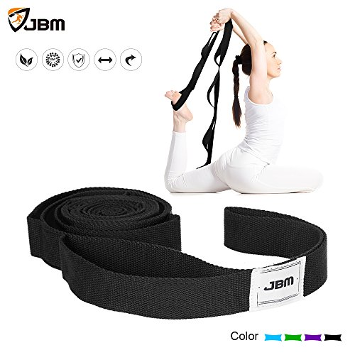 JBM Stretching Exercise Strap with 10Flexible Loops Thicken Exercise Band Gravity Fitness Stretching Strap Physical Therapist Recommended Exercises and Pilates Workouts (5 Colors)