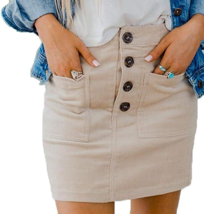 Hibasing Cintura Alta Faldas para Mujer - Moda Botones A-lìnea ...