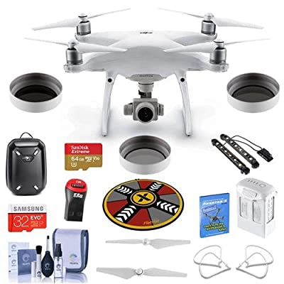 DJI Phantom 4 Advanced + Premium Kit - Bundle With DJI Hardshell Backpack, 64/32GB MicroSDXC Card, Spare Battery, Quick-Release Propellers, Propeller Guard, Collapsible Pad, Polar LED Light Bars, More