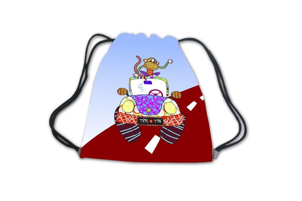 Mochila infantil merienda guardería para bebés niños niñas preescolar bolsa de cordón Tris & Ton modelo Monkey Car (Trisyton)