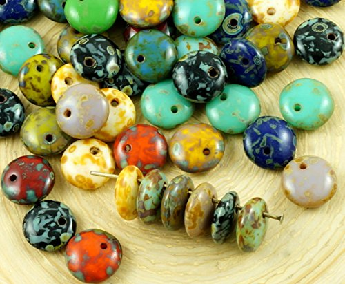 30pcs Picasso Brown Turquoise Red Yellow Green Mix Lentil Flat Round One Hole Czech Glass Beads 8mm