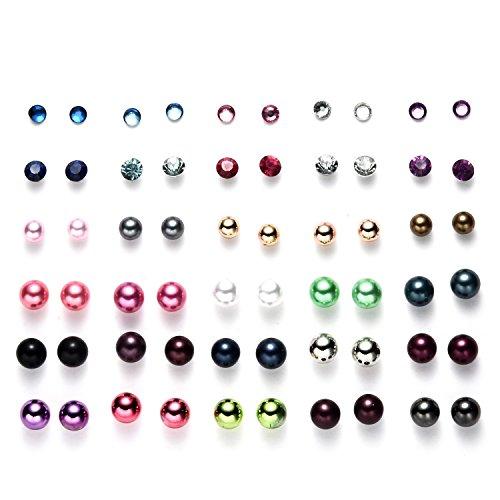 Oaonnea Multi Pairs Disc Ball Earrings Set for Girls (30 pairs stud earrings set)