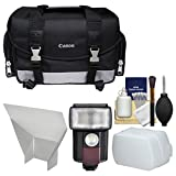 Canon 100DG Digital SLR Camera Case Bag with Flash + Reflector + Diffuser + Cleaning Kit for T6s, T6i, T7i, EOS 77D