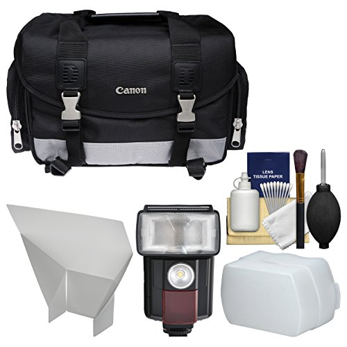Canon 100DG Digital SLR Camera Case Bag with Flash + Reflector + Diffuser + Cleaning Kit for T6s, T6i, T7i, EOS 77D by Canon