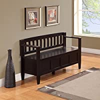 WYNDENHALL Riverside Entryway Storage Bench, Dark brown