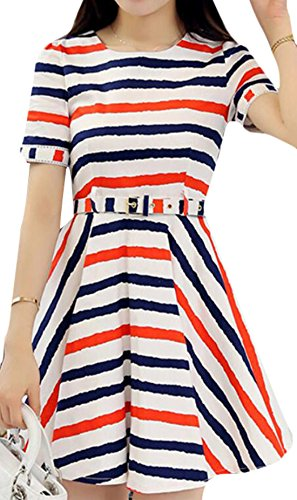 Slim striped short-sleeved dress - 1