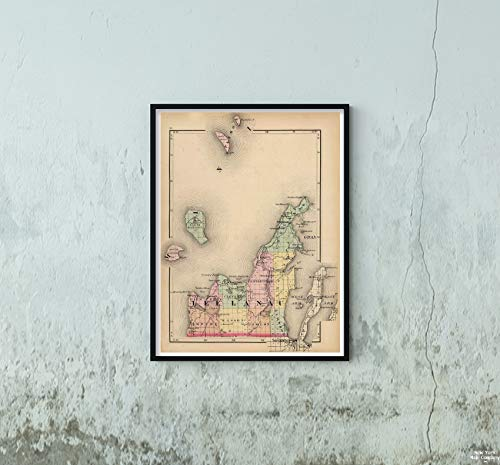 - 1873 Map|State Atlas of Leelanau County, Michigan|Vintage Fine Art Reproduction|Size: 18x24|Ready to Frame