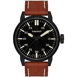 Tsovet SVT-FW44 FW331011-03 Black / Brown Leather Analog Quartz Men's Watch