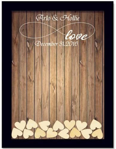 Black Wood Pattern Name Date Personalized Wedding Guest Book Rustic Please Sign Our Guestbook Sign Wedding Drop Box Guest Book 16 X 20 Inch With 150 Hearts Amazon Ca Home Kitchen