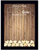 Teisyouhu Black Wood Pattern Name Date Personalized Wedding Guest Book Rustic Please Sign Our Guestbook Sign Wedding Drop Box Guest Book 16 x 20 inch with 150 Hearts