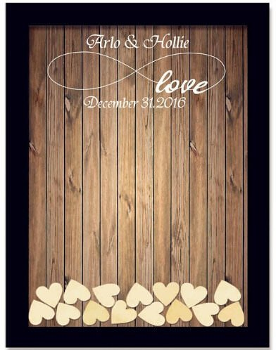 Teisyouhu Black Wood Pattern Name Date Personalized Wedding Guest Book Rustic Please Sign Our Guestbook Sign Wedding Drop Box Guest Book 16 x 20 inch with 150 Hearts by Teisyouhu (Image #6)