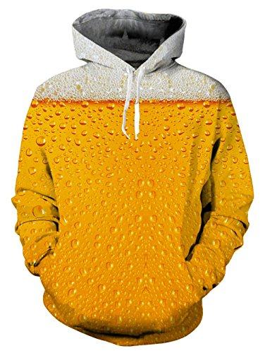 Loveternal Unisex Funny Beer Drip Design Printed Long Sleeve Fleece Pullover Hoodies Sweatshirt for Teen Boys Girls M