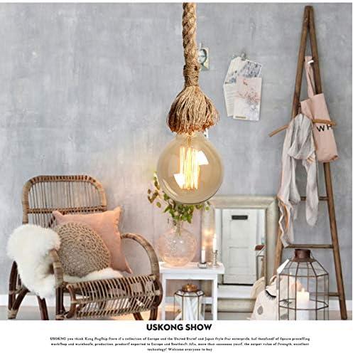 Corda per canapa di E27 Luce pendente dattaccatura Vintage Illuminazione da soffitto industriale in stile country perfetto Portalampada Sospensione stile vintage