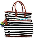 Luliey-Diaper-Tote-Bag-Black-White-Lines-With-Tan-Trim