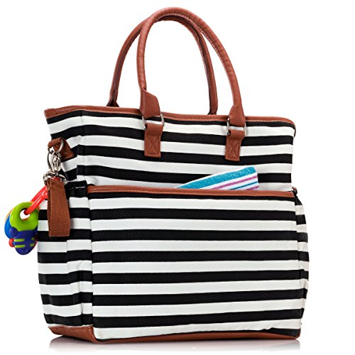 Premium Baby Diaper Tote Bag + Matching Changing Pad and Stroller Strap – 14 Spacious Pockets – Durable Canvas Material – Black and White Stripes with Tan Leather Trim – Lightweight - 14'' x 5'' x 15'' by Luliey (Image #6)