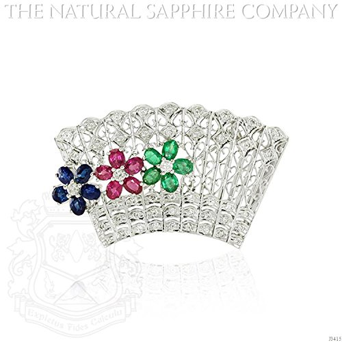 Natural Ruby, Emerald and Sapphire Brooch diamond with 1.18ct. Diamonds. (J3415) - Diamond Ruby Sapphire Brooch