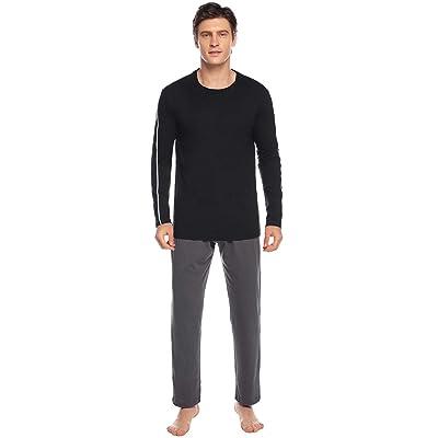Abollria Men's Long Sleeve Pajamas Set Crew Neck Top and Knit Sleep Pant Lounge Set Loungewear Pjs Set at Amazon Men's Clothing store