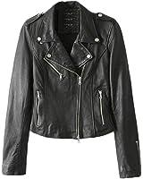 SaiDeng Giacca Donna Pelle Pu Risvolto Collare Classic Corto Moto Giubbotto Jacket
