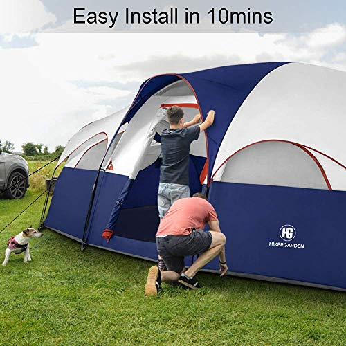 HIKERGARDEN 8-Person Tent – Easy & Quick Setup Camping Tent, Professional Waterproof & Windproof Fabric,Double Layer, 5 Large Mesh for Ventilation, Lightweight & Portable with Carry Bag