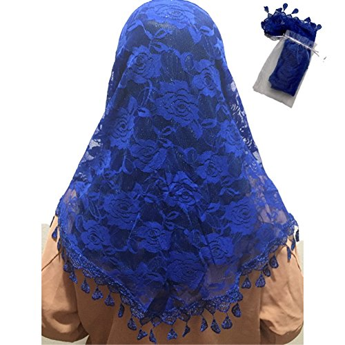Mass Veil Catholic Church Mantilla Blue Chapel Lace Shawl or Scarf Latin Mass Head Cover with a Handy Storage Pouch (Royal Blue)